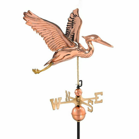 Good Directions Blue Heron Weathervane, Pure Copper -