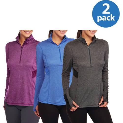 Image of Danskin Now Women;s Performance 1/2 Zip Pullover Top, 2 pack