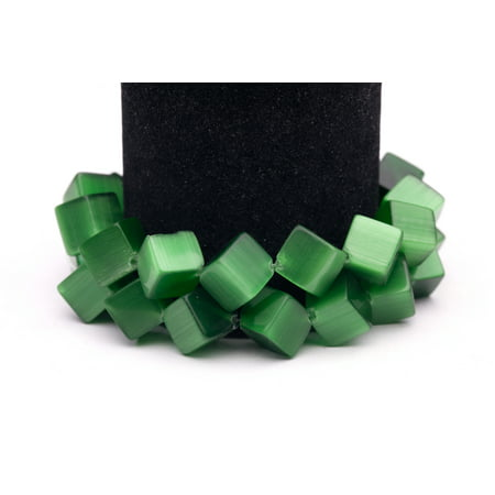 Light Green Glass Eyes - Emerald Green Cat's Eye Beads Diagonal Cube Fiber Optic Glass Beads 13mm