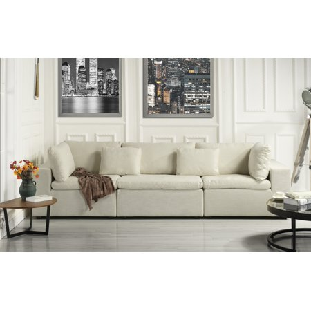 Large Classic Living Room Linen Fabric Sofa (Ivory) ()