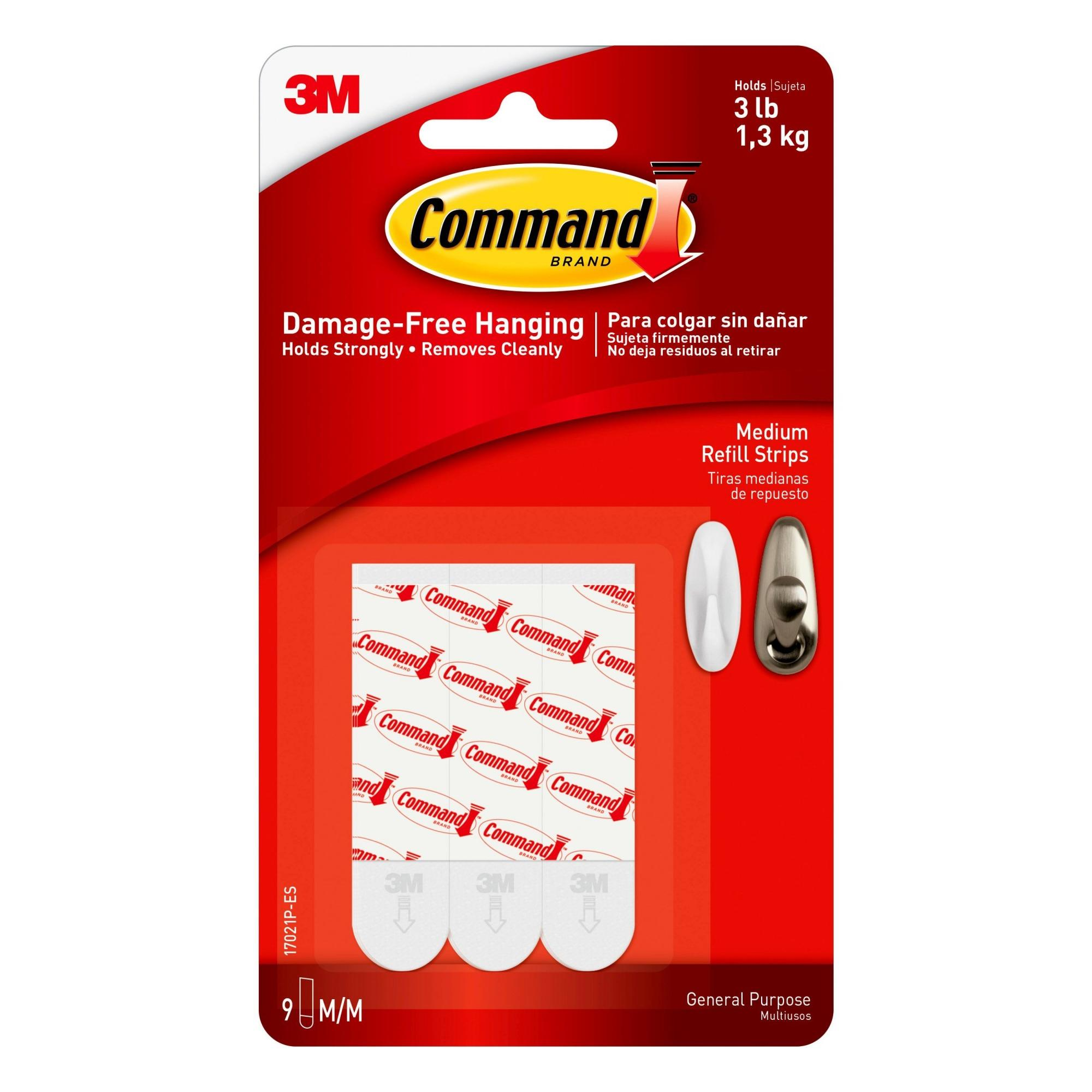 3M 17021P Command Medium Refill Mounting Adhesive Strip-MEDIUM COMMAND STRIPS