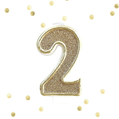 Light Gold Glitter 2nd Birthday Candle Number 2 Two Cake Topper 2 Years](Candle Cake)