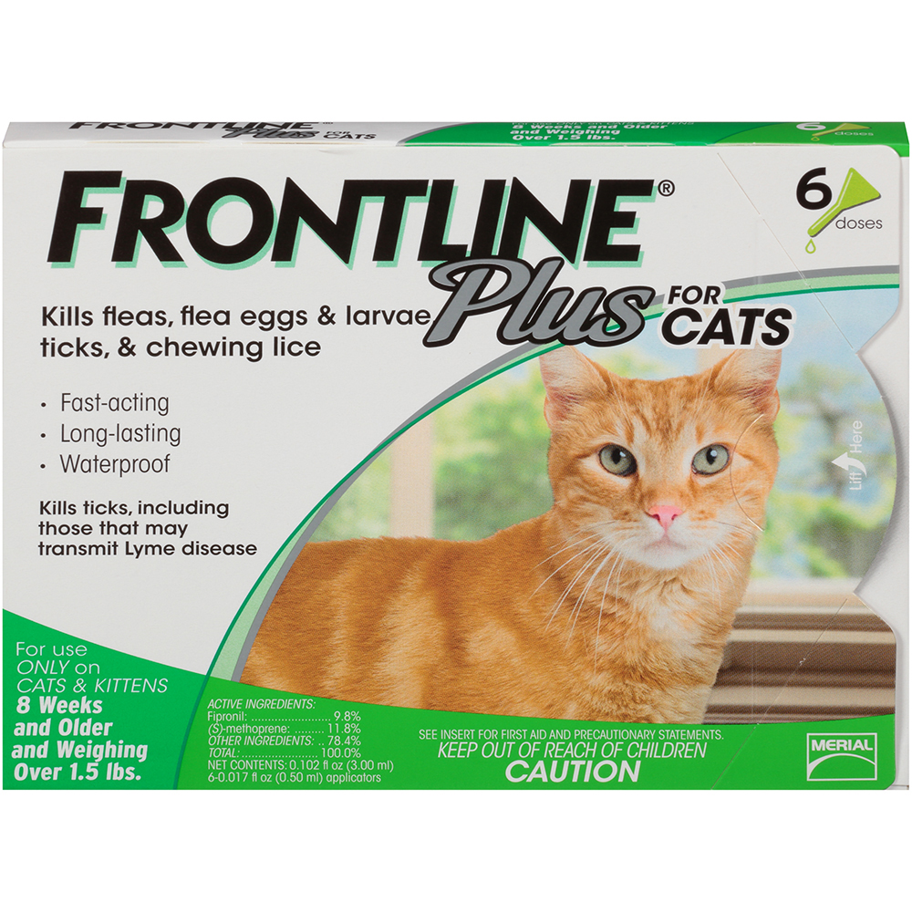 FRONTLINE Plus for Cats and Kittens (1.5 pounds and over) Flea and Tick Treatment, 6 Monthly Treatments