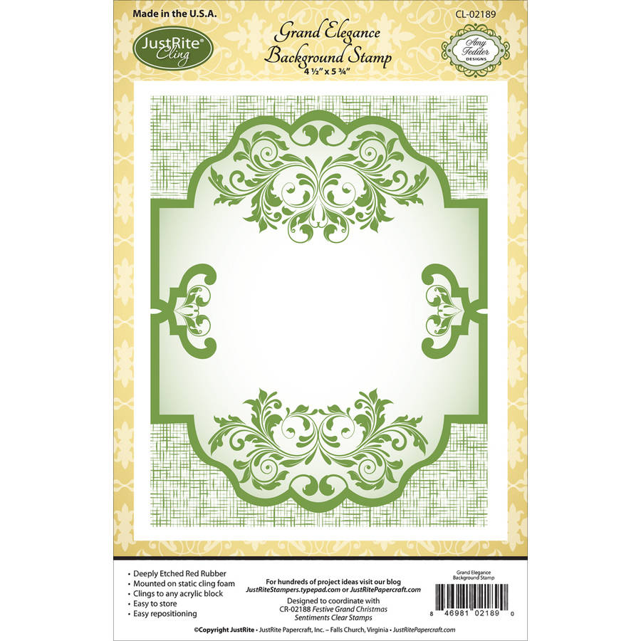 "JustRite Papercraft Cling Background Stamp, 4.5"" x 5.75"", Grand Elegance"