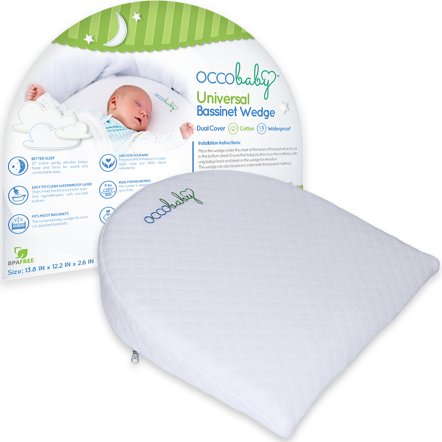 OCCObaby Universal Bassinet Wedge Pillow | Waterproof Layer & Handcrafted  Cotton Removable Cover | 12-degree Incline for Better Night's Sleep