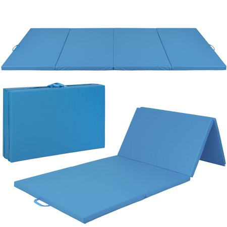 Best Choice Products 8ft 4-Panel Extra-Thick Foam Folding Exercise Gym Floor Mat for Gymnastics, Aerobics, Yoga, Martial Arts w/ Carrying Handles - (Best At Home Gymnastics Mat)