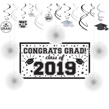 Party City Congrats Grad Graduation Basic Decorating Kit, Includes a Large Banner, Paper Fans, and Swirls - Party City H