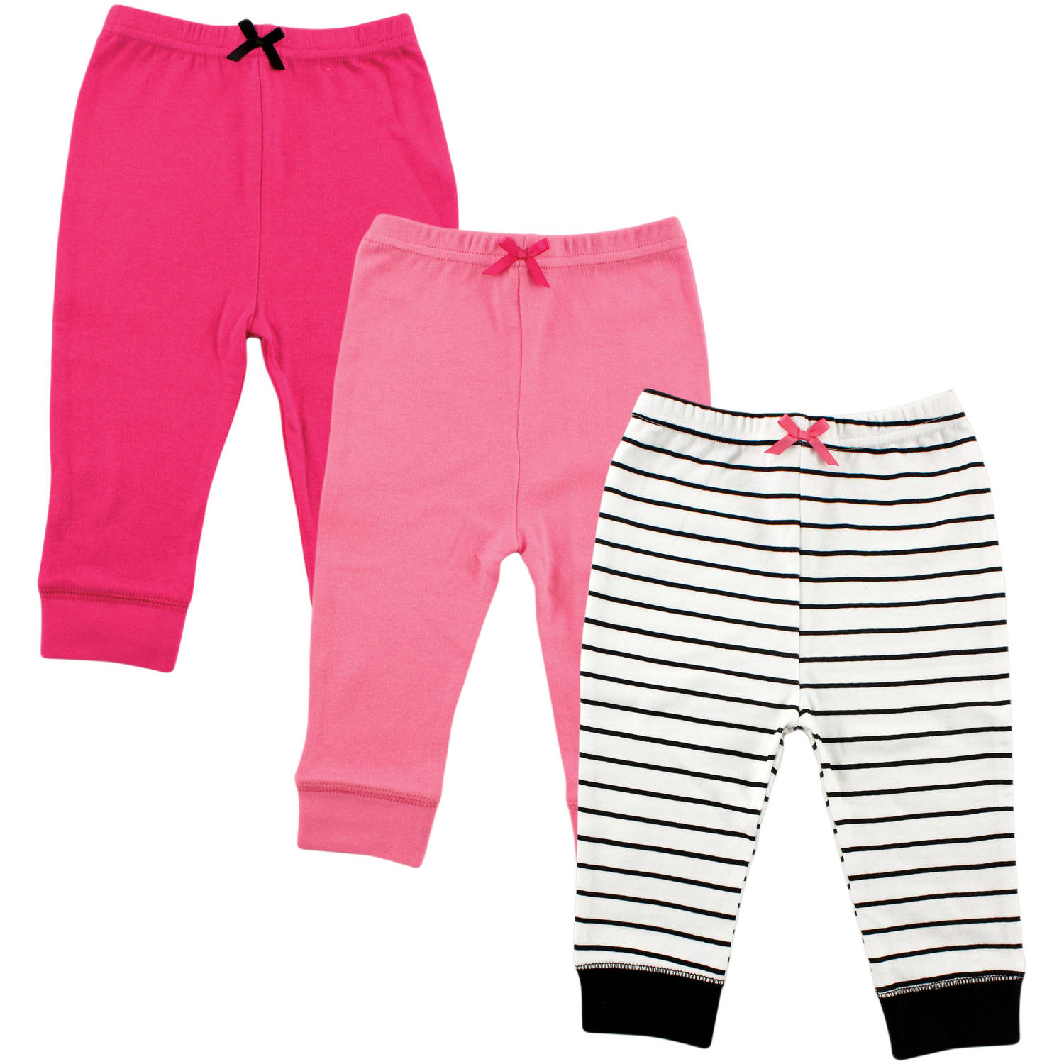 Luvable Friends Tapered Newborn Baby Girls Ankle 3 Pack Pant - Black Stripe