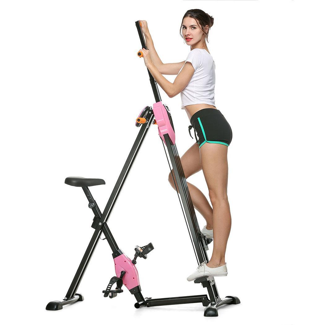 Foldable Vertical Climber Machine 2 In 1 Exercise Fitness Folding Climbing Machine Stair Cardio Fitness Gym HFON