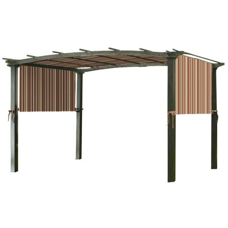 Garden Winds Universal Replacement Canopy Top Cover for Pergola Structures - Standard 350 - Stripe Canyon - Medium Canyon Stripe