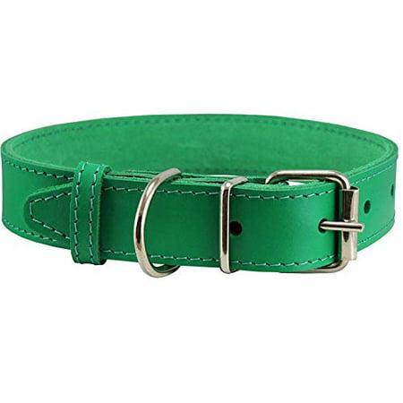 Aqua Show Dog Collar (Genuine Leather Dog Collar Green 7 Colors (19