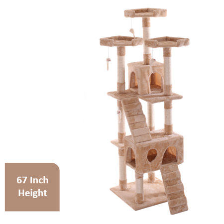 - Jaxpety Cat Tree Cat Scratcher Condo with Hanging Toys, 67