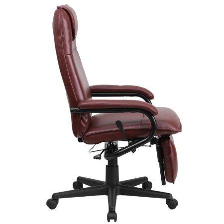 High Back Burgundy Leather Executive Reclining Swivel