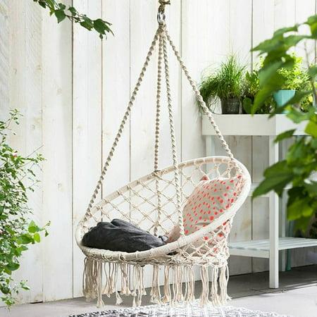 Hammock Swing Chair Macrame Bohemian Style Cotton Rope Hanging Spider Swing for Patio, Yard, Garden Indoor Outdoor