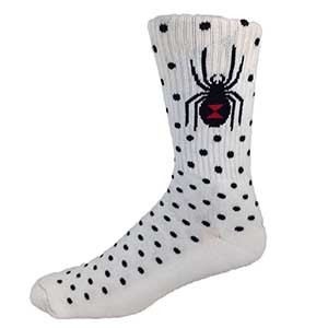 "MOXY Socks White with Black Dots ""Black Widow"" Skater Crew Socks"