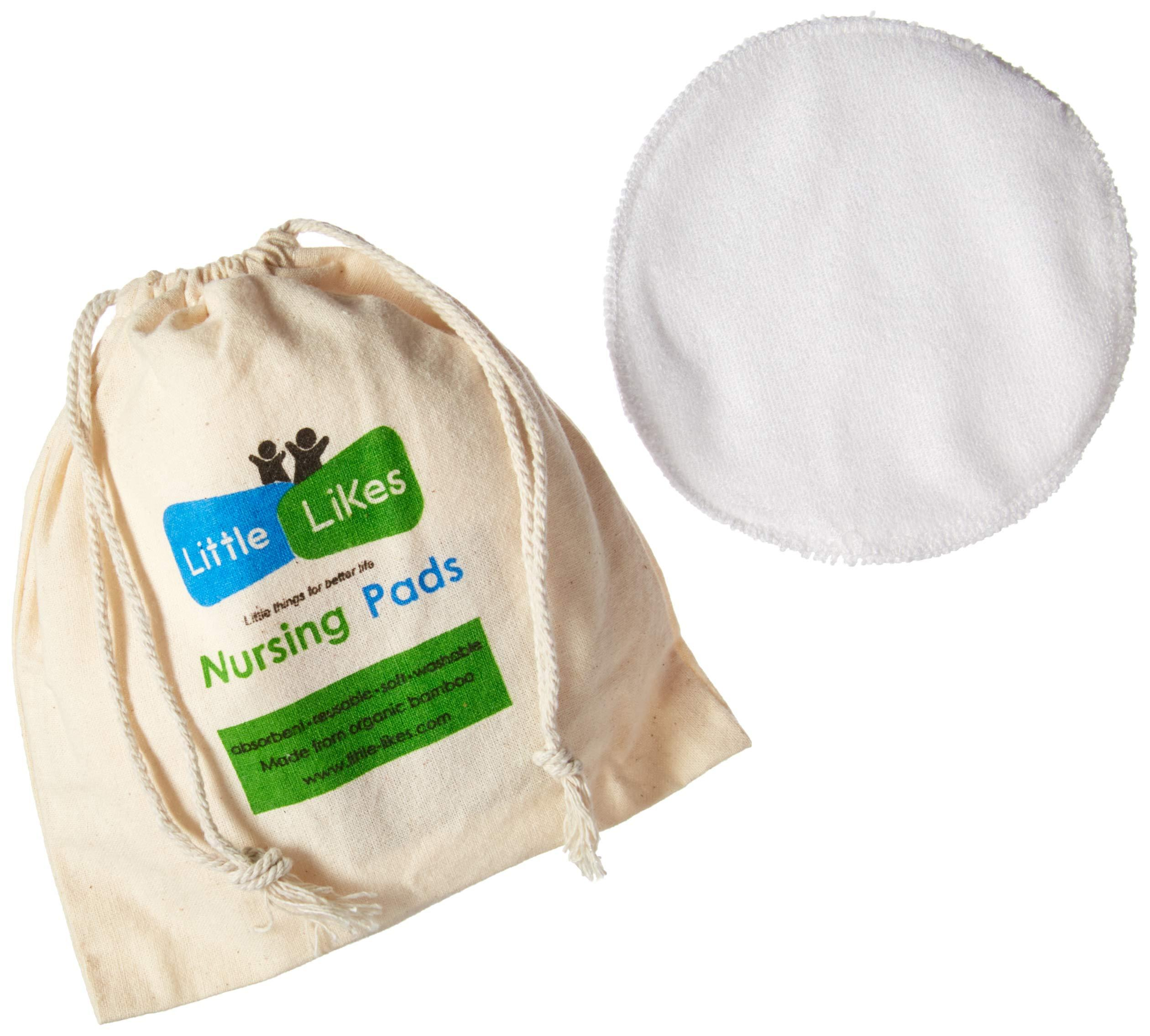 Organic Nursing Pads (8 Pack) Reusable Bamboo Breast Pads, Bra Pads, Leakproof, Ultra Soft, Waterproof,... by Little-Likes
