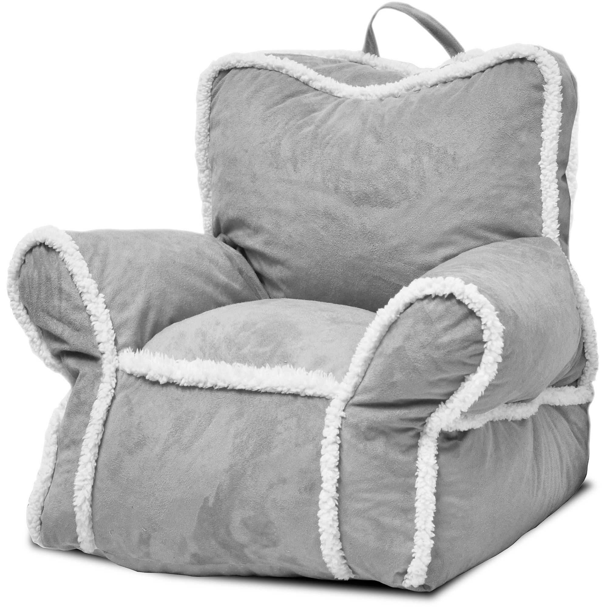 Heritage Kids Suede Bean Bag Chair With Sherpa Binding Gray