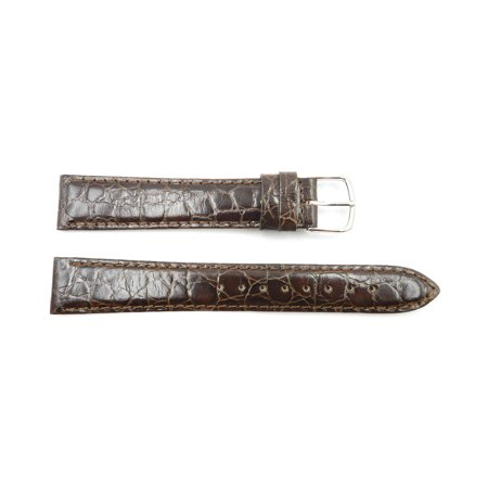 Genuine Crocodile Leather Strap - 18mm Brown Genuine Leather Crocodile Grain Semi-Gloss Long Watch Strap