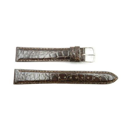 18mm Brown Genuine Leather Crocodile Grain Semi-Gloss Long Watch Strap Crocodile Skin Watch Band