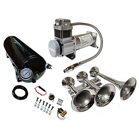 Viking Horns V103C-6-12/311-1 Loud 170 Decibels 3 Trumpet Train Air Horn System With 200PSI Air Compressor / 5 Gallon Air Tank ()