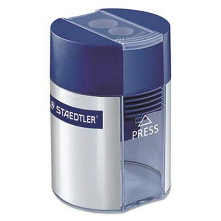 Staedtler 512001BK Handheld Manual Double-Hole Plastic Sharpener, Blue & -