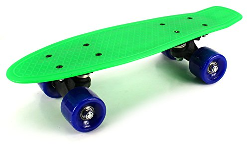 "Mini Smooth Ride Cruiser Complete 17"" Banana Skateboard w  54mm Wheels, ABEC-7 Bearings (Green) by Velocity Toys"