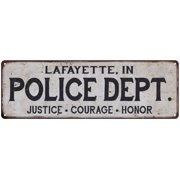 LAFAYETTE, IN POLICE DEPT. Vintage Look Metal Sign Chic Decor Retro 6183215