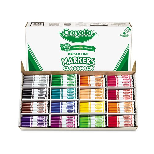 Crayola - Non-Washable Classpack Markers. Broad Point. 16 Assorted Colors. 256/Box 58-8201 (DMi BX