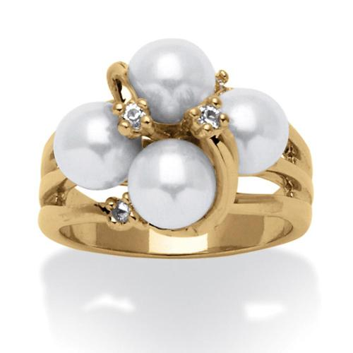 PalmBeach Round Simulated Pearl and Austrian Crystal Accent Ring in 14k Yellow Gold Plating Naturalist Size 8
