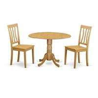 East West Furniture DLAN3-OAK-W Dining Kitchen Dinette Table & 2 Room Chairs, Oak