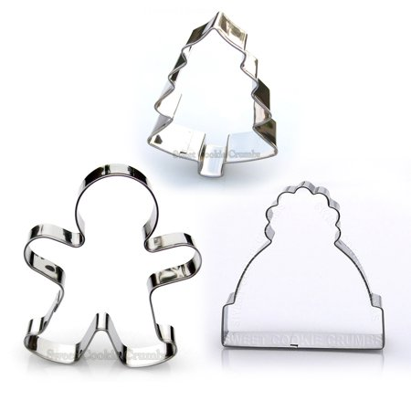 Christmas Cookie Cutter Set - 3 Piece Stainless Steel