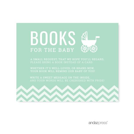 Books For Baby Mint Green Chevron Baby Shower Games, - Baby Shower Book