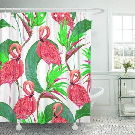 BPBOP Pink Flamingos Tropical Flowers Jungle Leaves Bird Of Paradise