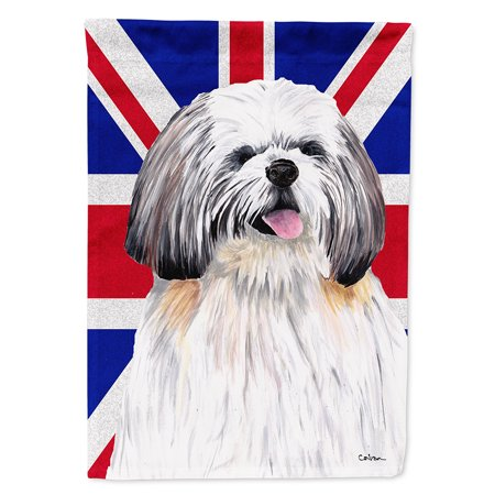 Shih Tzu with English Union Jack British Flag Garden Flag