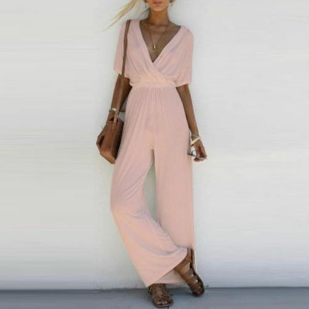 Summer sexy fashion design V-neck jumpsuit cool sense of fall trousers suit  party wide leg pants - image 4 of 5