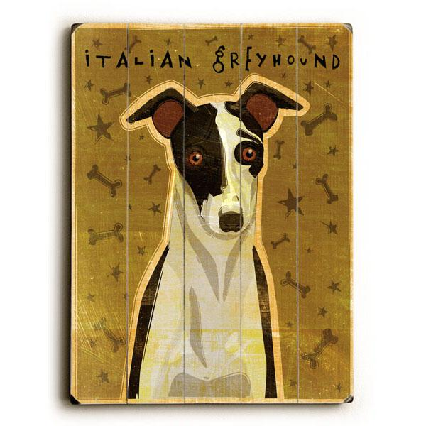 "ArteHouse Decorative Wood Sign ""Italian Greyhound"" by Artist John W. Golden, 12"" x 16"", Planked Wood"