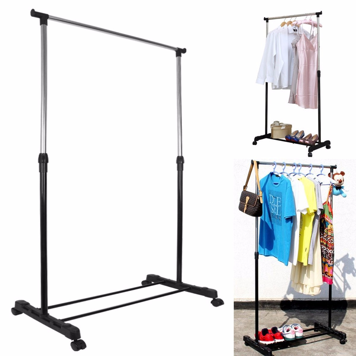 Adjustable Garment Rack Portable Heavy Duty  Clothes Stand Hanger Mobile On Wheel Today's Special Offer!