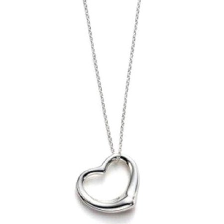 Sterling Silver Floating Heart Pendant Necklace w/ Box Chain 16 Inch