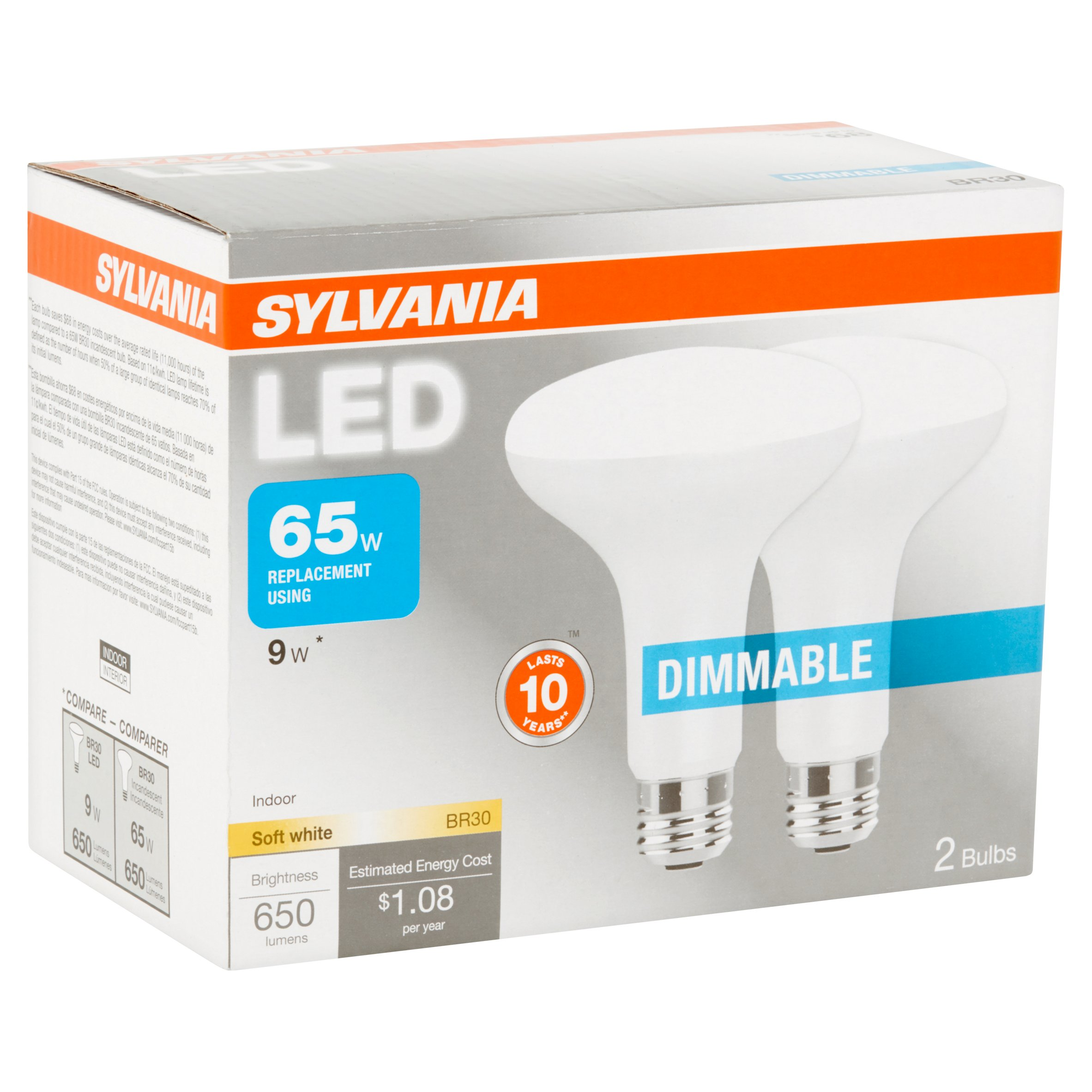 Sylvania BR30 LED Light Bulbs, 9W (65W Equivalent), Dimmable, Soft White, 2-count
