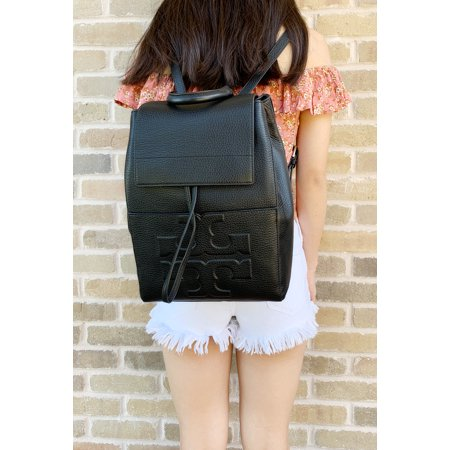 Tory Burch Bombe T Logo Flap Leather Backpack Black