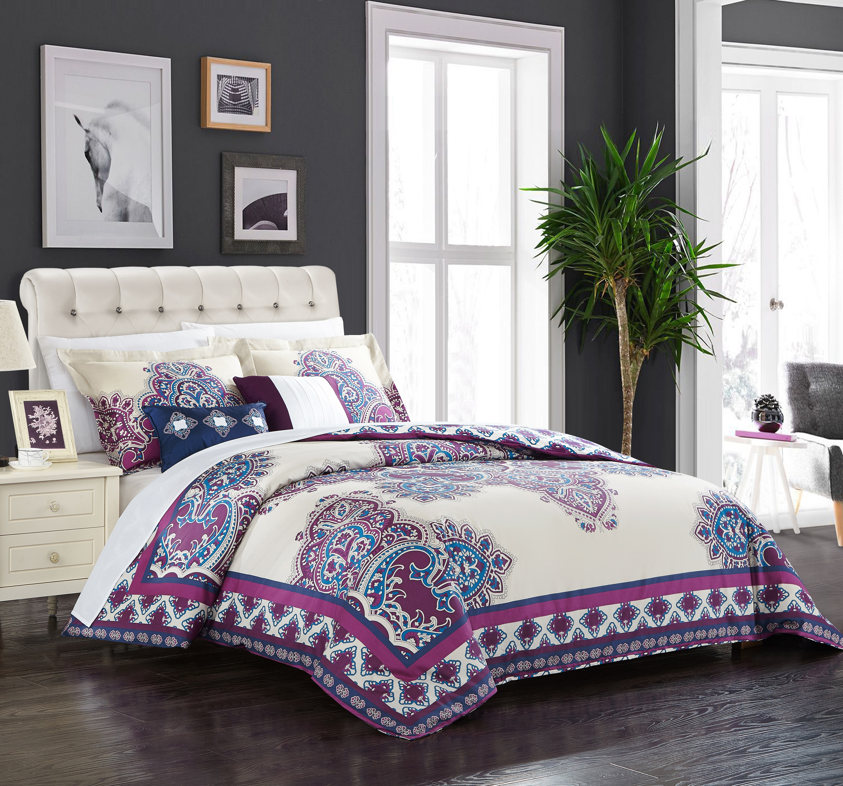 Chic Home 5-Piece Sati 100% Cotton 200 Thread Count Extra Large Panel Framed Vintage Boho Printed REVERSIBLE Queen Comforter Set Purple