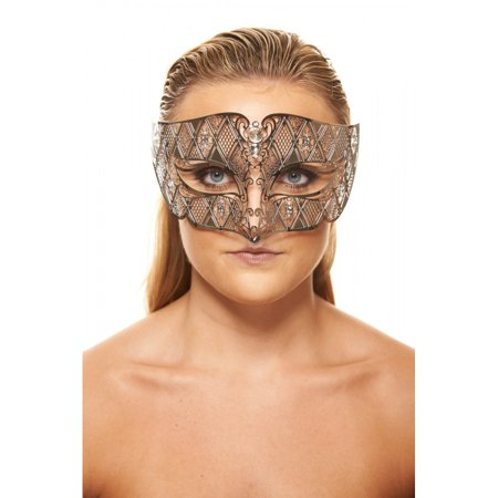 KAYSO INC BD008SL LUXURY ROMAN GUARD FILIGREE LASER CUT METAL MASK (SILVER WITH CLEAR RHINESTONES)