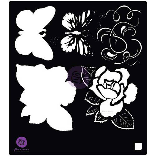 "Tales Of You and Me Stencil, 6"" x 6"", Flowers and Butterfly"