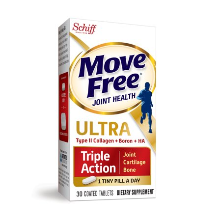 Move Free Ultra Triple Action, 30 tablets, Joint Health Supplement with Type II Collagen, Boron and HA – One Tiny - Optimum Health 90 Tablets
