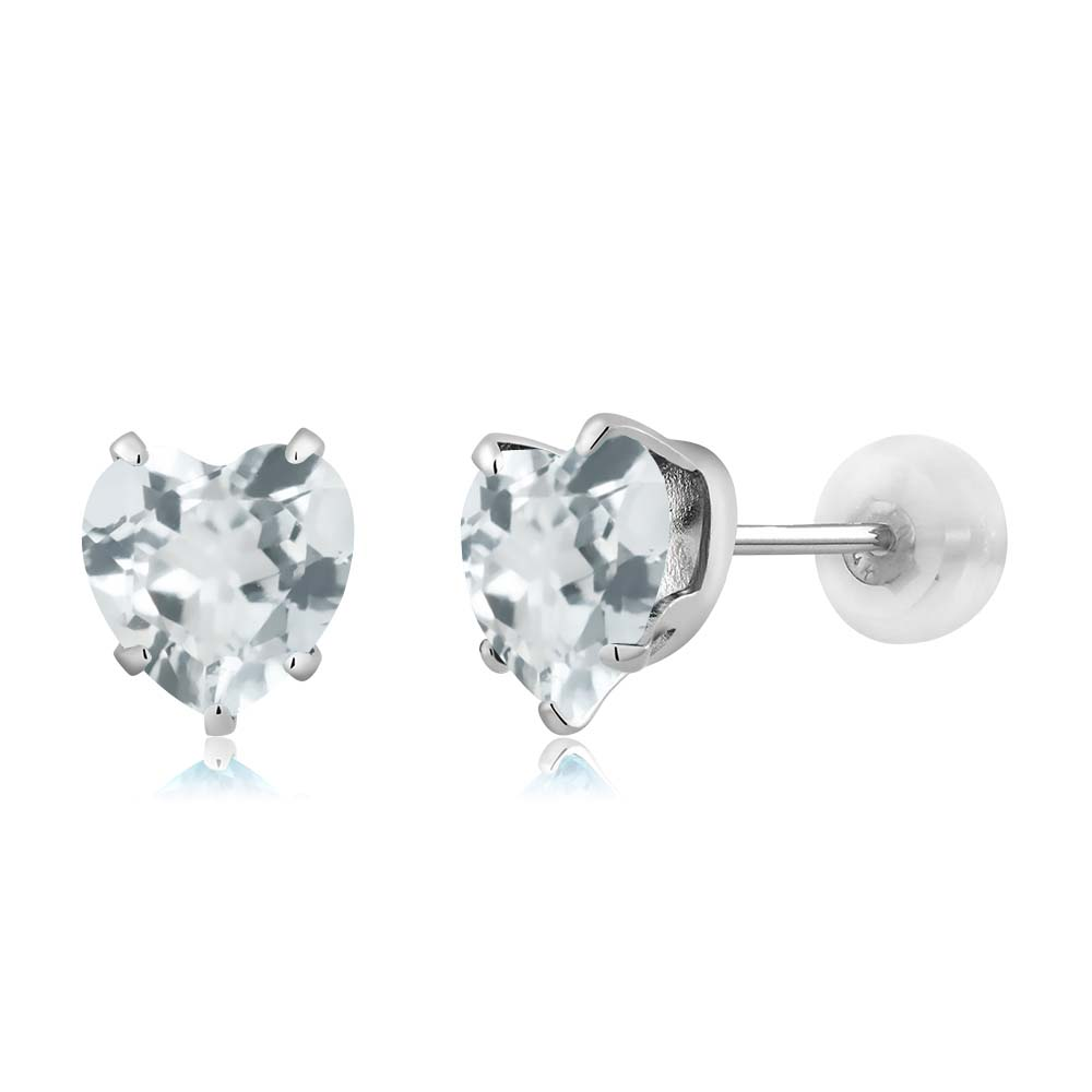 1.34 Ct Heart Shape 6mm Sky Blue Aquamarine 10K White Gold Stud Earrings