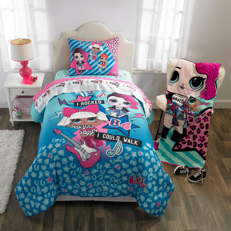 LOL Surprise 2pc Twin//Full Reversible Comforter Pillow Sham Remix Set