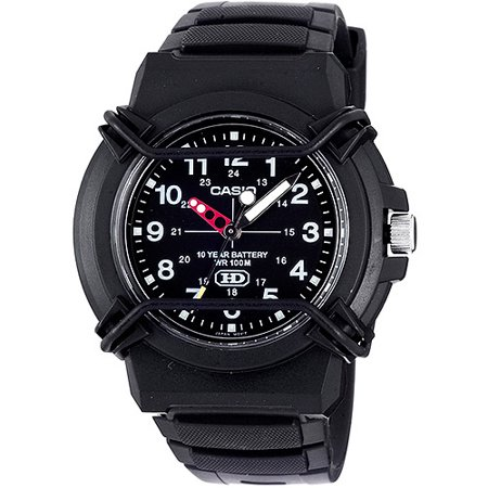 - Men's 10-Year Battery Sport Analog Watch, Black Resin Strap