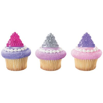 24pack Queen Crowns Cupcake / Desert / Food Decoration Topper Rings with Favor Stickers & Sparkle - Queen City Cupcakes