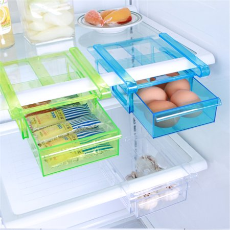 Meigar Plastic Kitchen Freezer Fridge Drawer Storage Rack Holder Slide Shelf Organizer