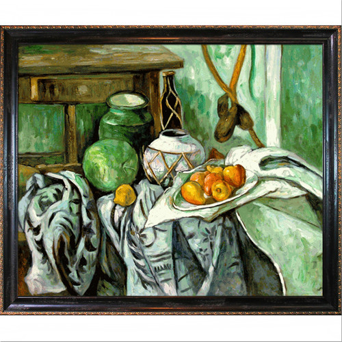 Tori Home Still Life with Ginger Jar and Eggplants by Paul Cezanne Framed Original Painting